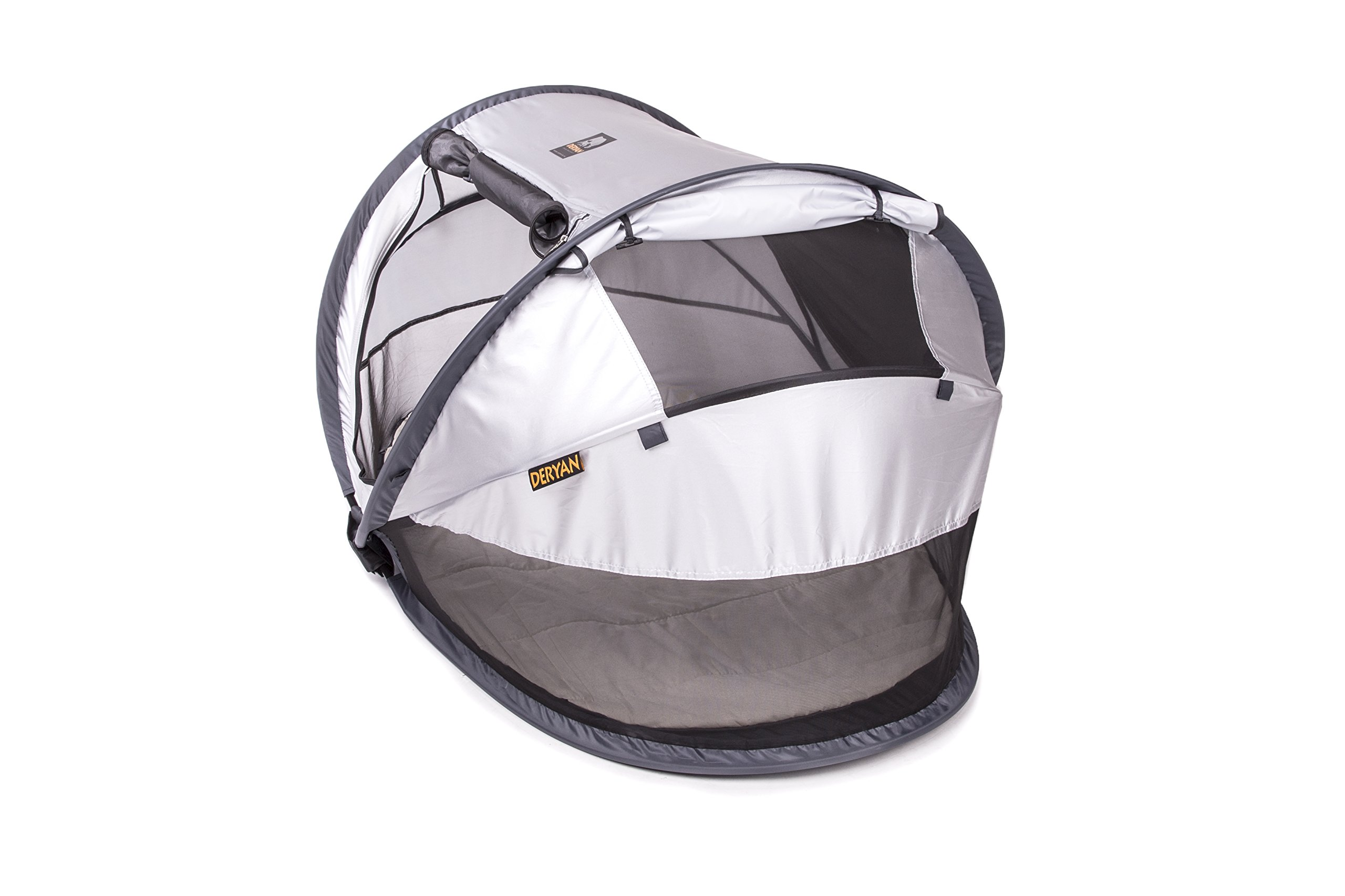 Travel Cot Peuter Luxe (Silver) Deryan 50% UV Protection and flame retardant fabric Setup in 2 seconds and a anti-musquito net  4