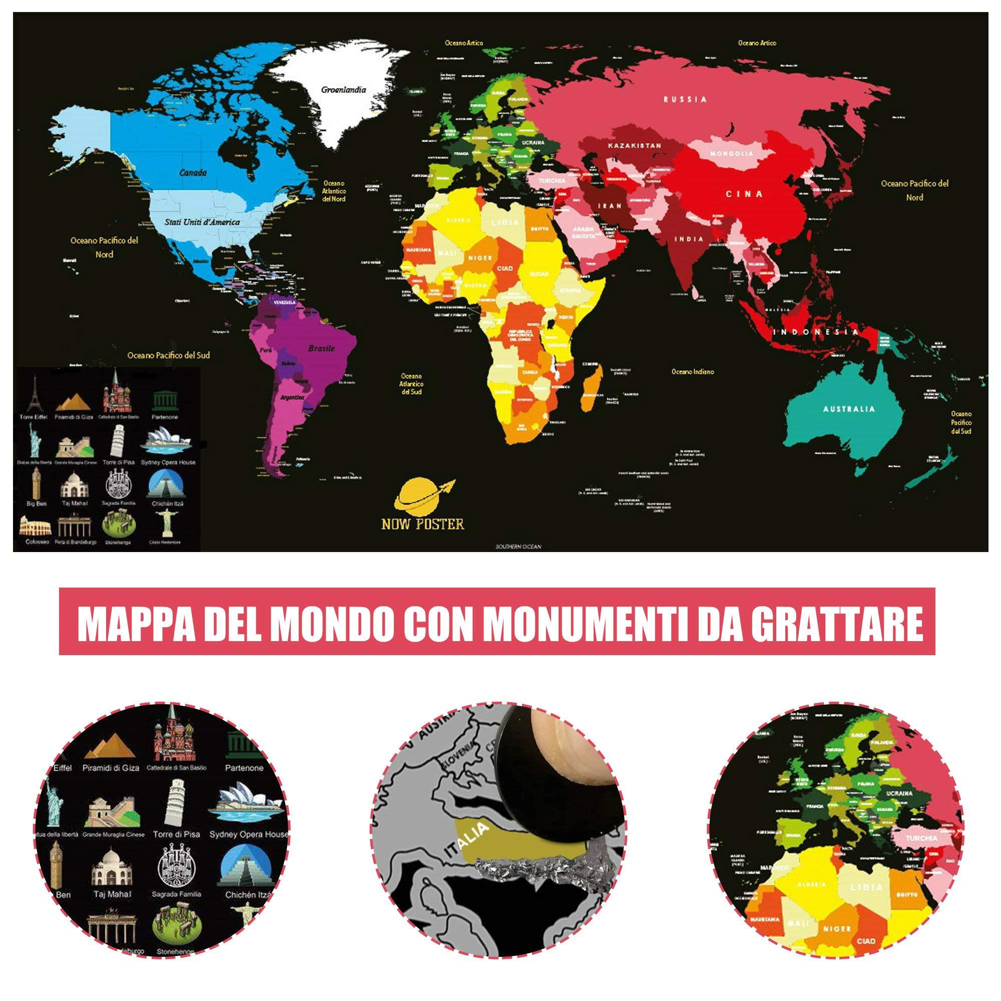 Cartina Mondo Gratta.Mappa Del Mondo Da Grattare Nowposter Cartina Geografica Planisfero Da Parete Con Europa Italia Scratch Map Art Mappamondo Politico Per Diario Di Viaggio Argento Nero 84 X 44 Cm Faceshopping