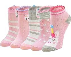 PUTUO Girls Socks Kids Novelty Animal Cotton Socks, Cute Socks Toddler Girls Funky Socks for Children, 2-11 Years, 5 pairs