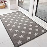 The Rug House Durable Non Slip Washable Grey Stars Front Door Mat Hardwearing Utility Hallway Entrance Exit Floor Protector D