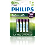 PHILIPS AUDIO R03B4A70/10 Rechargeables Batteria AAA, 700 mAh, Confezione da 4 Pezzi, verde/bianco