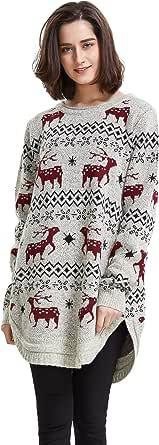 shineflow Renna da Donna con Fiocco di Neve e Maglione Maglione di Natale