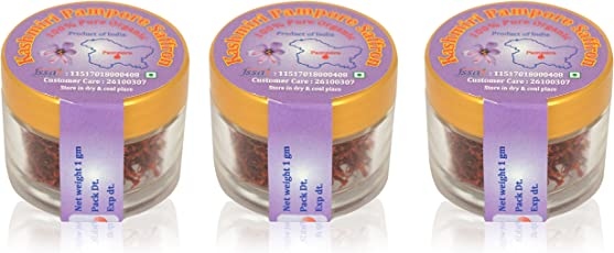 Kashmir Pampore Organic Saffron, 3 Grams (Pack of 3)