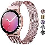 Wanme Correa Compatible con Samsung Galaxy Watch Active/Active 2 40mm 44mm, 20mm Metal Pulsera de Repuesto de Acero Inoxidabl