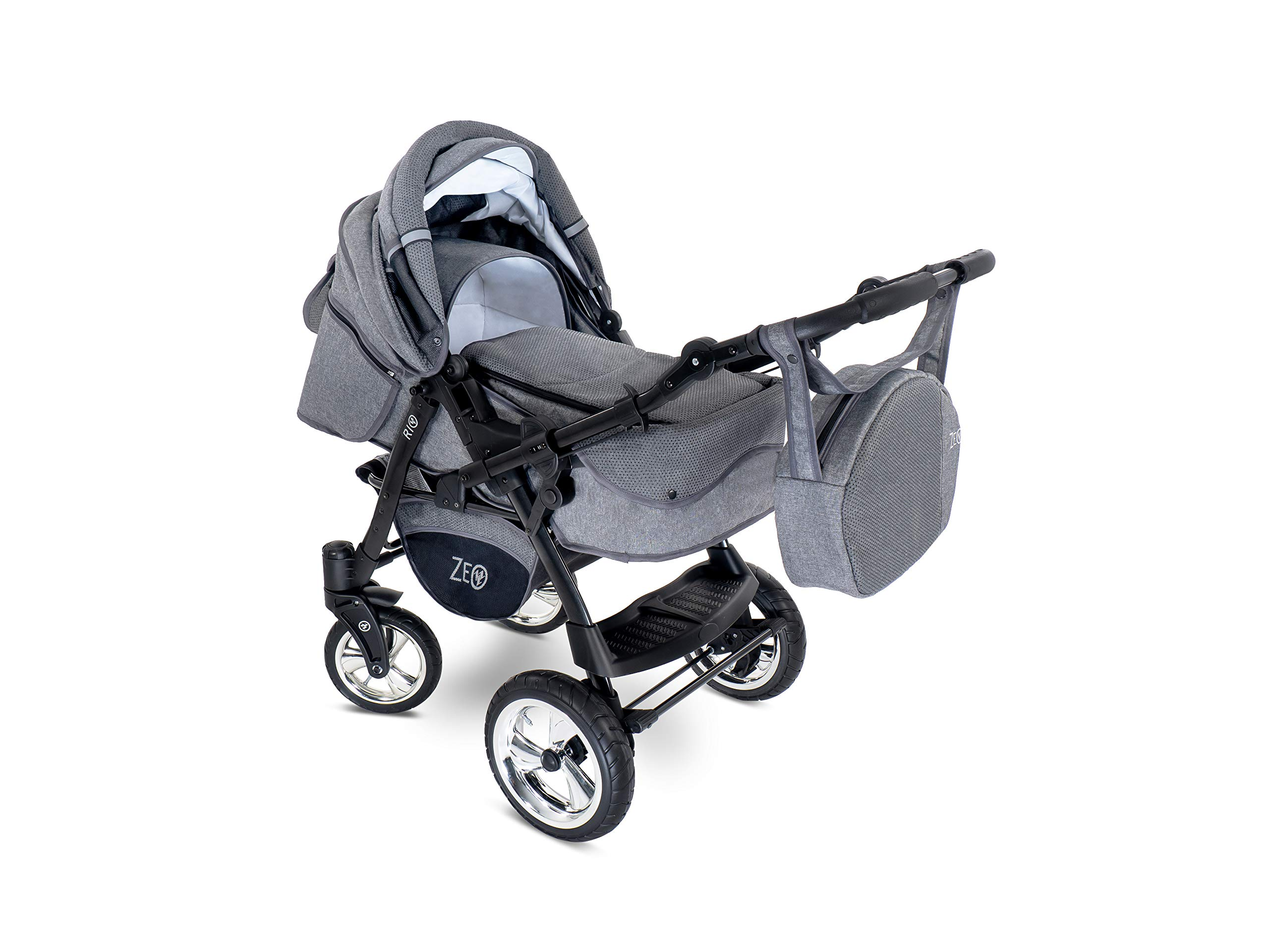 Baby Pram Zeo Rio 3in1 Set - All You Need! carrycot Gondola Buggy Pushchair car seat (R3) Zeo 3 in 1 combination stroller complete set, with reversible handle to the buggy, child car seat or baby carriage Has 360 ° swiveling wheels, two-fold suspension, four-stage backrest, five-position adjustable footrest and a five-point safety belt The stroller can be easily converted into other functions and easy to transport 5