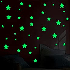 Decor kafe Glow in The Dark Stars Moon Decals Party Home Decor Wall Stickers Perfect Gift Kids Boys Girls