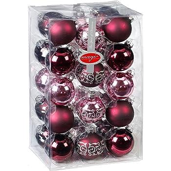 Magic 28 Christbaumkugeln 6cm Mit Dekor Glas Weihnachtsschmuck Box