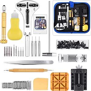 ETEPON Kit di Riparazione Orologi Professionale, Strumento di Riparazione Orologio per Cambio Fascia di Orologio e Sostituzione della Batteria (Blu)