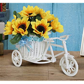Tied Ribbons Cycle Shape Plastic Flower Vase with Sunflower Bunch (10.01 cm x 11.99 cm x 21.01 cm)