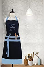 "Milano Home""Happiness is Homemade"" Embroidered 100% Cotton Apron with Adjustable Neck & Centre Pockets"