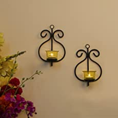 Homesake Set Of 2 Decorative Wall Sconce/Candle Holder With Yellow Glass And Free T-Light Candles