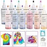 Ucradle Tie Dye Kit, 12 Stück Stoff Textil Farben Tie-Dye Kit Vibrant Stoff Textil Farben mit 40 Stück Gummi Band und 1Vinyl