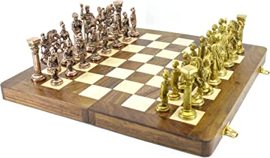 VA Antiques Wooden Folding Chess Board with all Solid Brass Metal Parts, 16x16-inch (Wooden Brown)