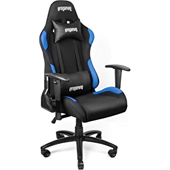 iprogaming gaming stuhl schreibtisch und b rostuhl f r gamer mit stoffbezug in schwarz blau. Black Bedroom Furniture Sets. Home Design Ideas