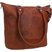 Gusti Handtasche Damen Leder - Therese Ledertasche mit Reißverschluss Umhängetasche Schultertasche Shopper groß Braun…