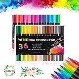 MTSCE 36 Farben Dual Tip Brush Pen Set, Filzstifte Pinselstifte Set für Bullet Journal Zubehör, Filzstifte Marker Malerei Gra