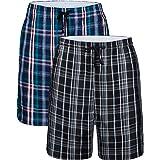 JINSHI Men's Cotton Plaid Lounge Shorts Pyjama Bottoms