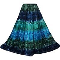 Doorwaytofashion Tie Dye Cotton Maxi Skirt Embroidered One Size UK 10 12 14 16 18