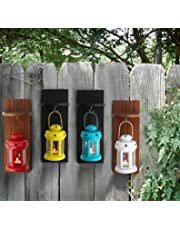 Tied Ribbons Garden Decor Lights Handcrafted Lantern Tea Light Holder With Wooden Shelve (Set Of 4)