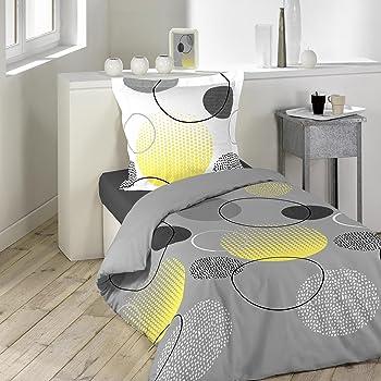 Douceur d Intérieur HOOPY Parure avec Taie d oreiller Coton Multicolore 140  x 200 cm 91f4af73f680