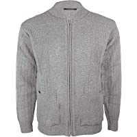 Mens Vintage Classic Style Cardigan Plain Casual Design Zip Up Thick Knit Warm Winter Grandad Sweater Knitted V Neck…
