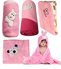 My NewBorn Baby Fleece Blanket Gift Set (Baby Pink, 0-9 Months) - Set of 5