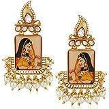 Shayza Jewellery Traditional Kundan Gold Plated Yellow Padmavati Jhumkas Jhumki Earrings for Women