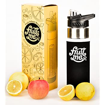 Fruit Infuser Water Bottle 700ml With No-Sweat Insulating Sleeve - BPA Free Tritan Plastic - Premium - Flip Lid - Leak Proof - Drinking Spout - Handle - Sports, Camping, Yoga, Detox - Multiple Colour Options