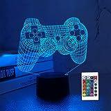 CooPark 3D Game Controller Lampe Nachtlicht 3D Illusionslampe für Kinder, 16 Farben ändern sich mit Fernbedienung, Kinderzimm