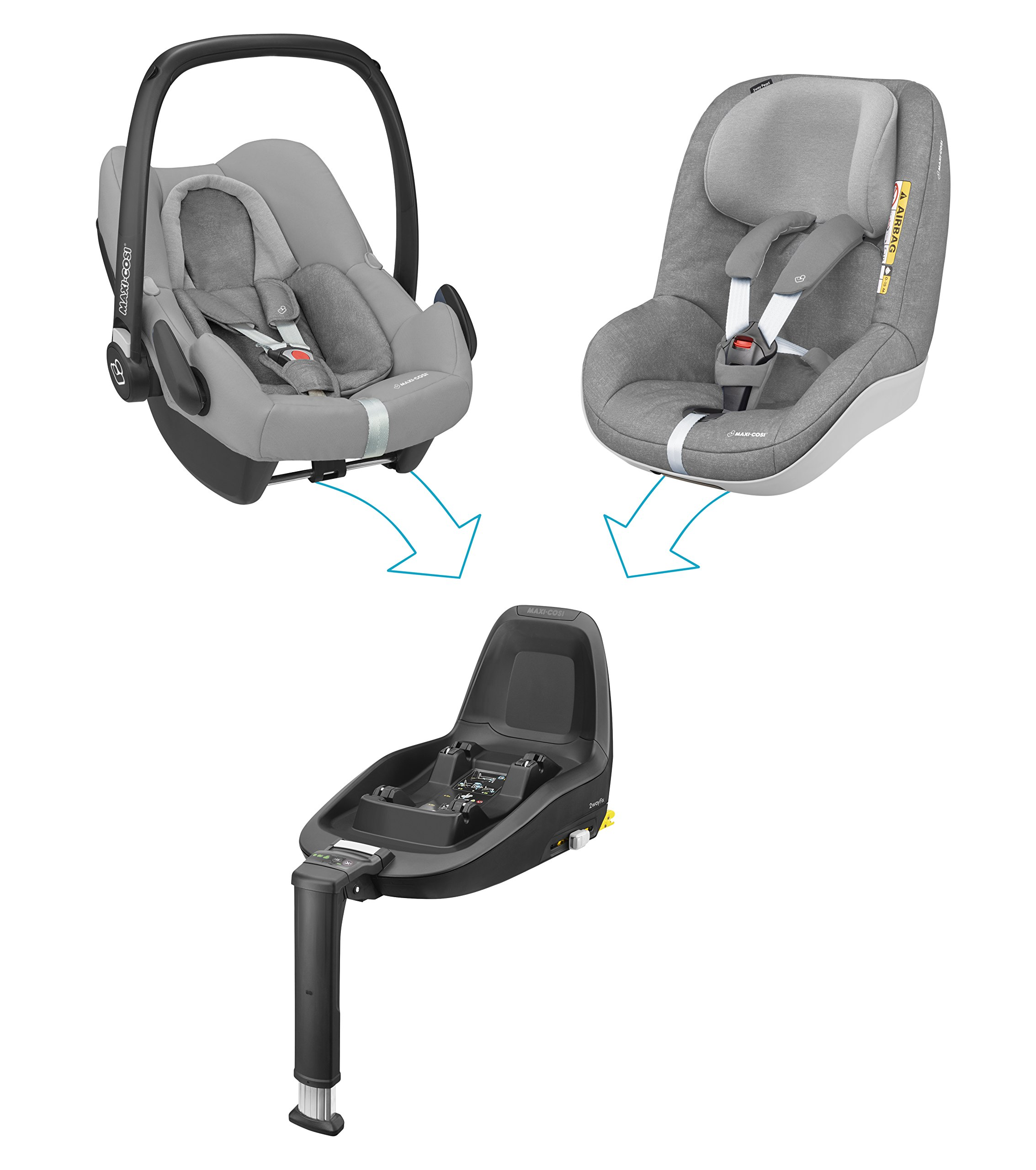 Maxi-Cosi Rock i-Size Baby Car Seat, Nomad Grey with Raincover for Baby Car Seat, Transparent and Back Seat Car Mirror Maxi-Cosi High safety rating: complies with the latest i-Size (R129) car seat legislation Baby-hug inlay offers a better fit and laying position for new-born's Designed to fit onto the maxi-cosi pebble plus, pebble and cabriofix baby car seats 6