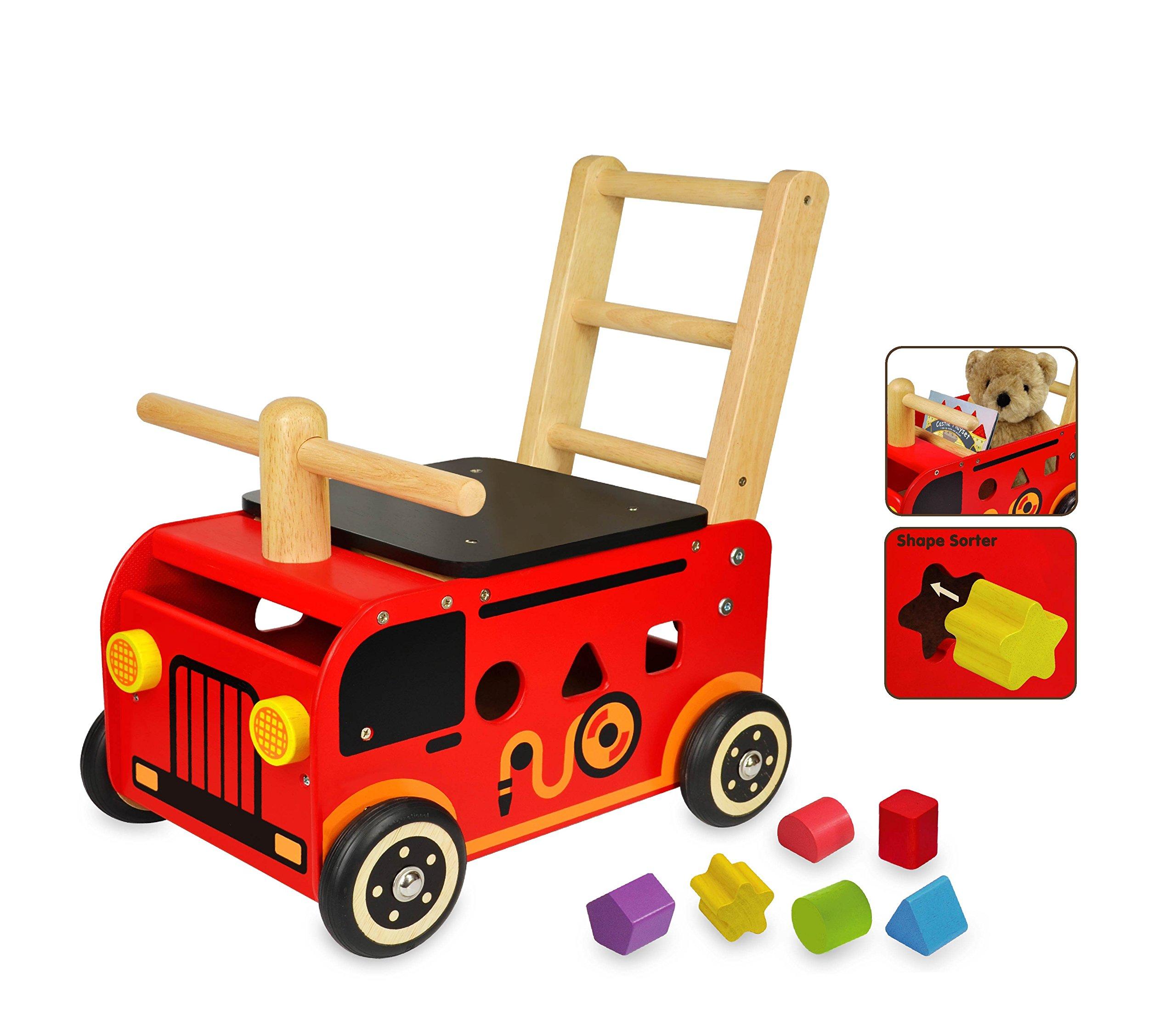 I M TOY Correpasillos Andador de madera El Camión de bomberos – im87480