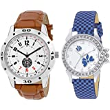 Rustet Quartz Movement Analogue White Dial Bracelet Boy's and Girl's Couple Watch -Combo Pack of 2