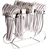 Shapes Feast Stainless Steel Stylish Cutlery Set with Spoons, Forks in Stand for Stylish Dining, Set of 24 Pcs…