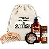 L'Oréal Men Expert Beard Care Set with Beard Oil, Beard Shampoo, Beard Comb and Beard Styling Pomade, Barber Club Premium Gif
