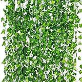 LANGING 12 Strengen Kunstmatige Klimop Garland Bloemen Nep Klimop Opknoping Wijnstok Plant voor Thuis Tuin Decor 84Ft (groen,
