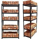 "STAR WORK Adjustable 5 -Section Shelves & Rack Industrial Storage Shelving Unit Boltless Rivet Rack - 5'3""[H] X 2'8""[L…"