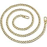 Vordas 120cm DIY Eisen Flache Kette Strap, Metallkette Schulter Riemen für Damen Handtaschen Umhängetasche (Gold)