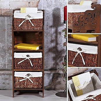 melko country kommode mit 3 k rben braun 78x28 5x22 cm sideboard dielen schrank anrichte. Black Bedroom Furniture Sets. Home Design Ideas