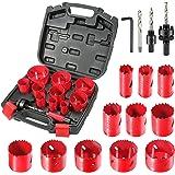 Bi-metalen Gatenzaag Set, HYCHIKA 17-delige Gatenzaag Set HSS Bimetaal met bewaarkoffer inclusief 11 Zaagbladen, 2 * Doornen,