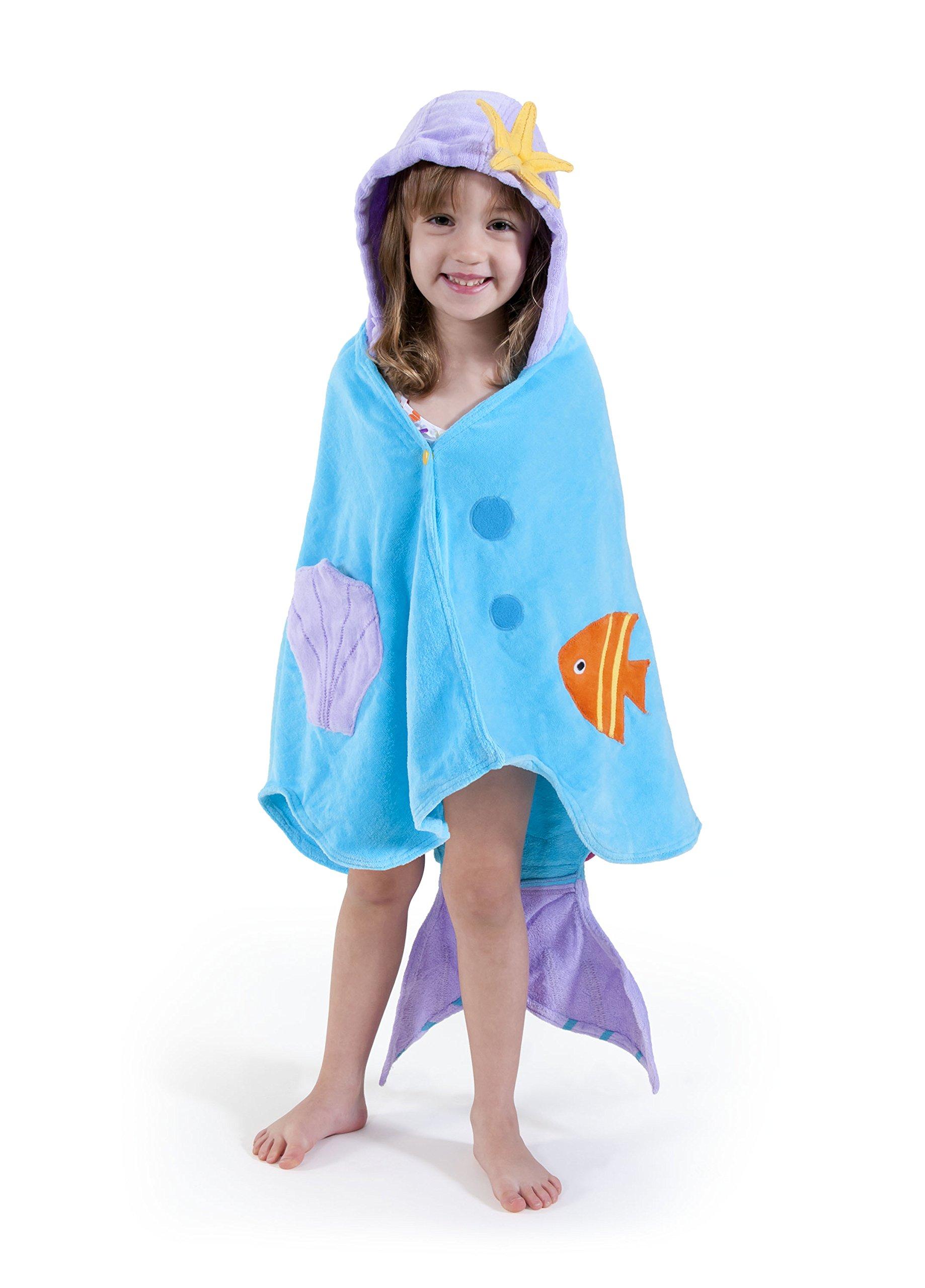 Kidorable - Toalla con capucha para niñas con cola de pescado y conchas 3