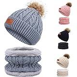 TAGVO Invierno Set de Bufanda, Gorro para niños, Invierno Grueso Polar, Tejido térmico, Bufanda, para niños, niños, niñas, de