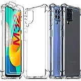 Ferilinso Funda para Samsung Galaxy M32 4G, con 2 Piezas Cristal Templado Protector de Pantalla, Transparente TPU Carcasa, 10