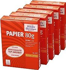 Avery Zweckform 2575 Drucker-/Kopierpapier (DIN A4, 80 g/m², 2.500 Blatt, alle Drucker) 1 Box mit 5 Pack weiß