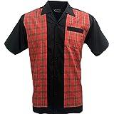 Rockabilly Fashions Men Casual Shirt Retro Bowling Classic Collar Tartan