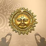 Happy Zone Surya Face Brass Wall Hanging Elegant Decor Item Door Decor | Sun Face Idol | Auspicious Vastu Item for Home | Off