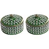 Angelic Brass Jewellery Box (7 cm x 7 cm x 5 cm, Green, Set of 2)