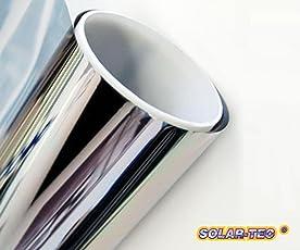 SolarTec Original Universal Sonnenschutz Spiegelfolie 99% UV-Schutz 78% reduzierte Helligkeit hochglanzverspiegelt Kratzfest Selbstklebend für Außen- und Innenmontage