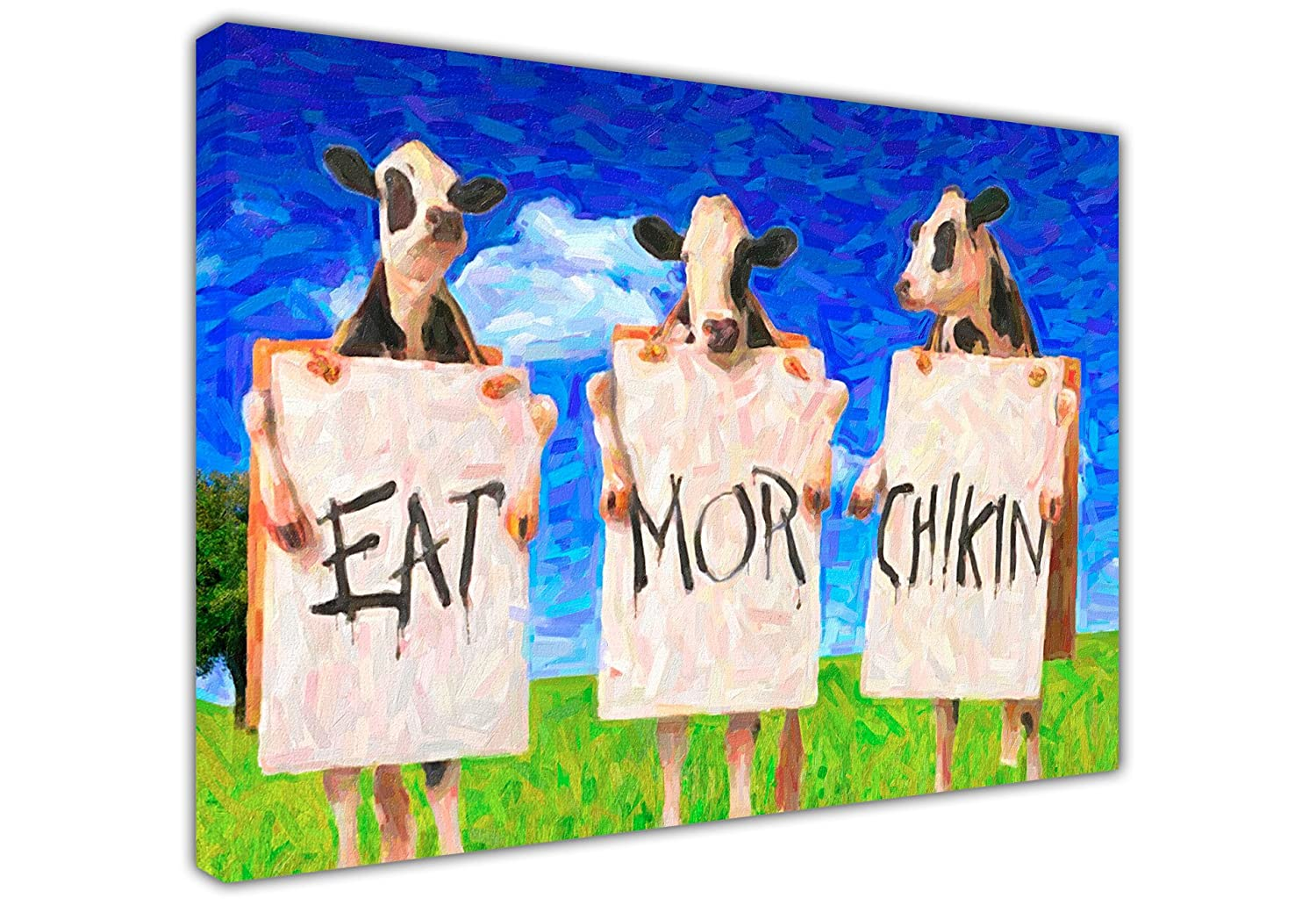 large canvas wall art pictures funny cows in field eat more