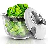 Lacari ® Salatschleuder mit großem Fassungsvermögen – Neuartiges Design mit Ablaufsieb - Einfaches Bedienen durch Drehen der Kurbel - GRATIS EBook