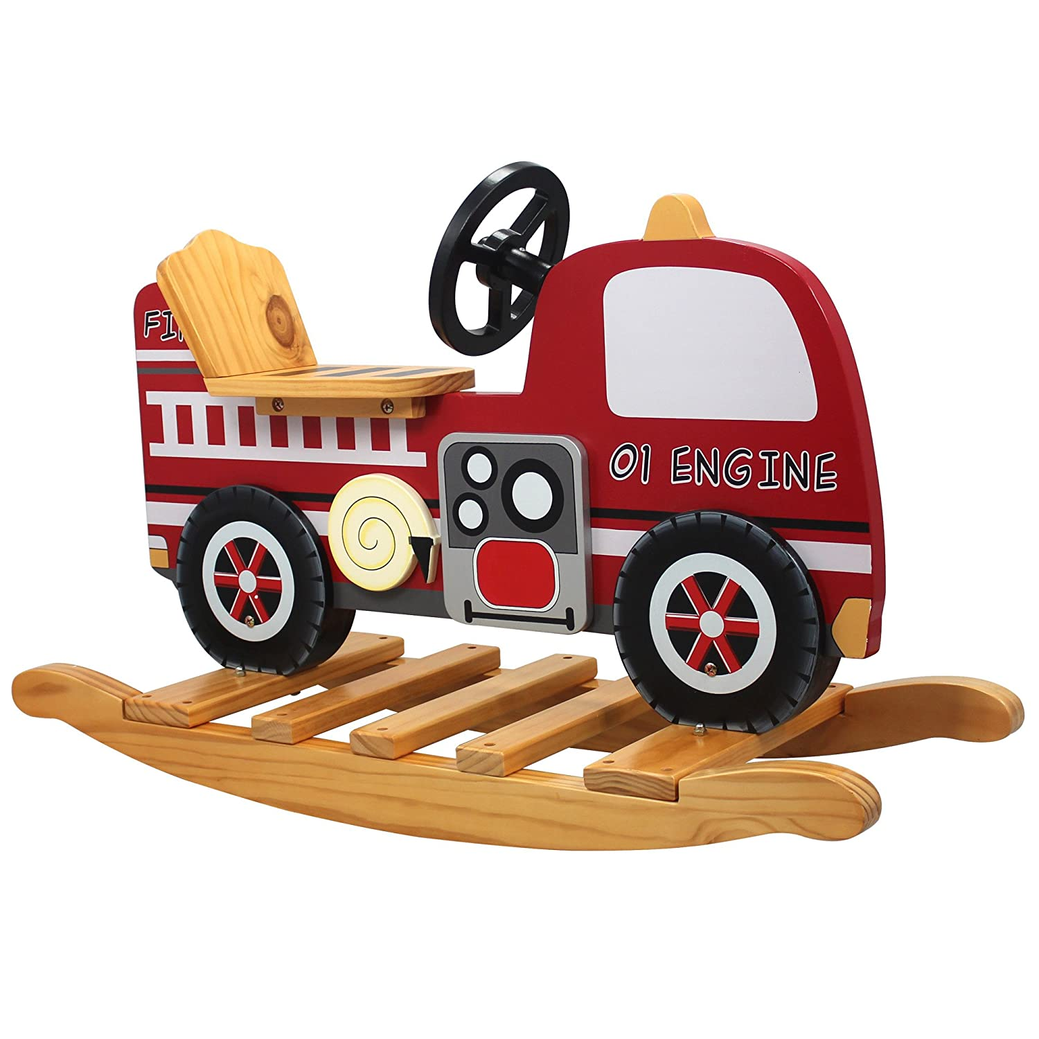 Teamson Kids Childrens Wooden Fire Engine Toddler Nursery Seat